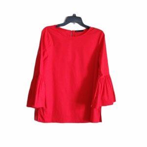 Gibson Red Flare Sleeve Top Size Medium EUC
